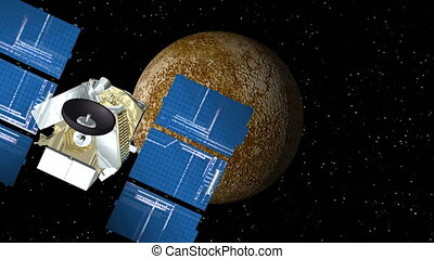 Satellite Approaches Mercury - 3D animation of satellite...