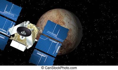 Satellite Approaches Pluto - 3D animation of satellite...