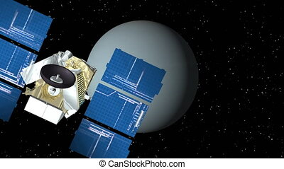Satellite Approaches Uranus - 3D animation of satellite...
