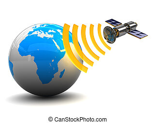 satellite broadcasting - 3d illustration of satellite and ...