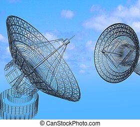 satellite, ciel, plats, fond