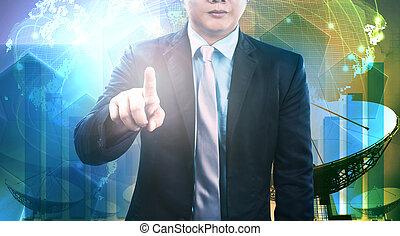 satellite, communication affaires, jeune, plat, technolo, homme