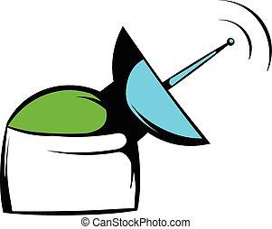 Satellite communication station icon, icon cartoon - ...