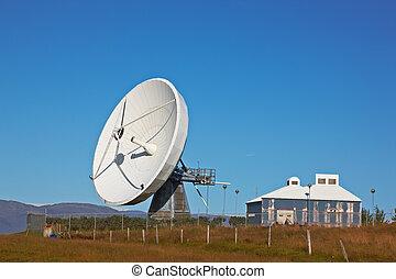 Satellite communications dish near Hofn, Iceland