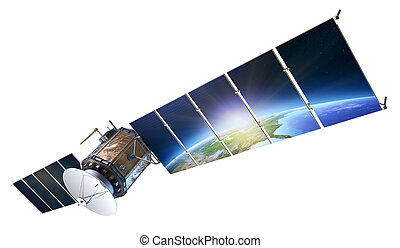 Satellite communications with earth reflecting in solar panels isolated on white ( Elements of this 3d  image furnished by NASA)