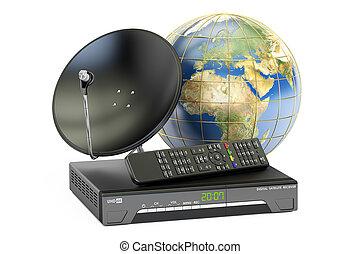 satellite, concept., télécommunications globales, rendre, numérique, plat, 3d, globe, la terre, récepteur