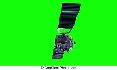 Satellite Deploys Solar Panels. Green Screen