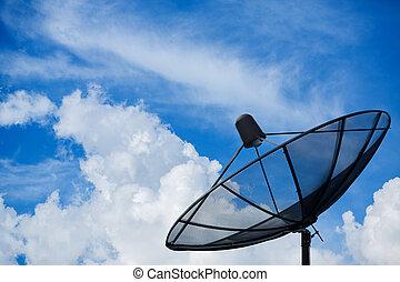 Satellite disc in blue sky