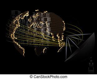 satellite dish and world telecommunication on black