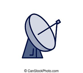 Satellite dish antena icon. Line colored vector illustration. Isolated on white background