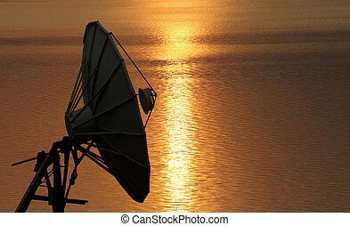 Satellite dish at beautiful sunrise background