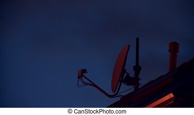 satellite dish at night