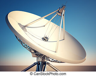 Close up on satellite dish with blue sky background.