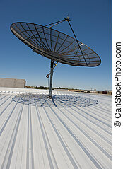 Satellite Dish Communication - Upward view of Satellite...