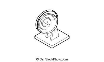 Satellite dish icon animation best outline object on white background