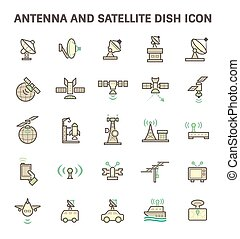 Antenna and satellite dish vector icon set.