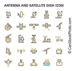 Satellite Dish Icon - Antenna and satellite dish vector icon...