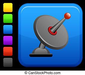 satellite dish icon on square internet button