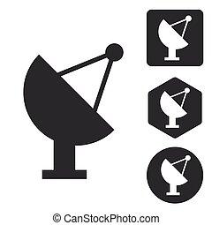 Satellite dish icon set, monochrome, isolated on white