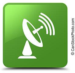 Satellite dish icon soft green square button