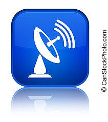 Satellite dish icon special blue square button