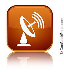 Satellite dish icon special brown square button