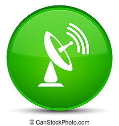Satellite dish icon special green round button