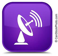 Satellite dish icon special purple square button