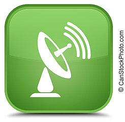 Satellite dish icon special soft green square button