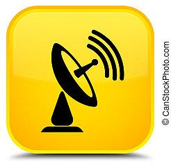 Satellite dish icon special yellow square button