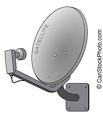 Satellite dish isolated on white as vector illustration
