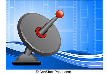 Satellite dish on film reel background - Original Vector...