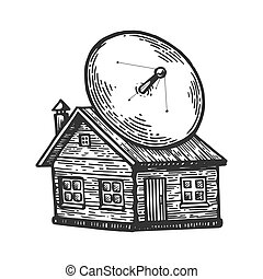 Satellite dish on old house engraving vector illustration....