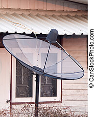 satellite dish on the roof - old satellite dish on the roof