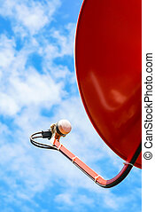 Satellite Dish over blue sky . - Satellite Dish over blue...