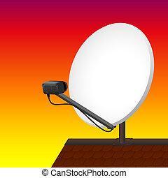Satellite Dish Rooftop Sunset
