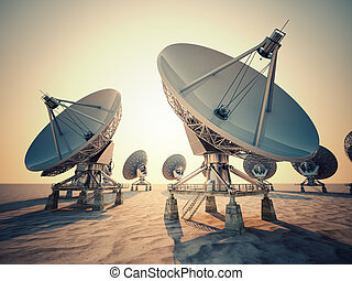 Satellite dish. - Satellite dish array at sunrise.