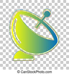 Satellite dish sign. Blue to green gradient Icon with Four Roughen Contours on stylish transparent Background.