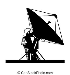 Satellite dish - Silhouette satellite dish vector