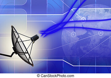Satellite dish transmission data earth background
