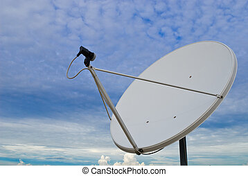 Satellite dish - parabolic antenna on a background of sky