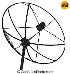 Satellite dish transmission data isolated on white ...