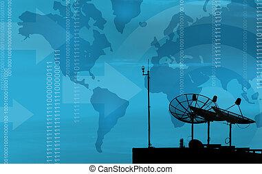 Satellite dish transmission data on blue background