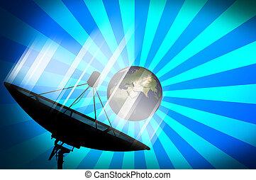 Satellite dish transmission data on blue background 2 -...