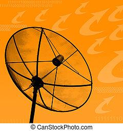 Satellite dish transmission data on orange background