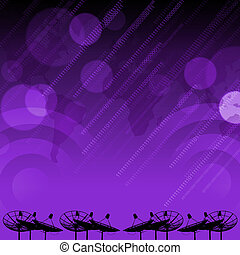 Satellite dish transmission data on purple background