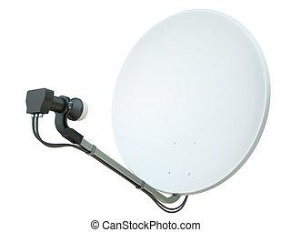Satellite dish - White satellite dish isolated on a white...