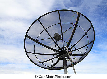 Satellite dish with blue sky background