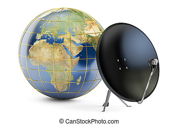 Satellite dish with globe earth, global telecommunications concept. 3D rendering