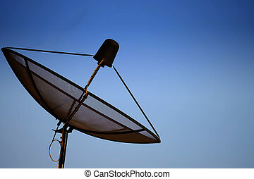 Satellite dish with sky